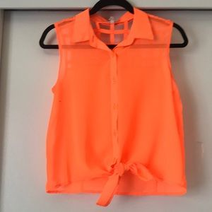 PACSUN 🍊 Neon Orange Tie-Front Top
